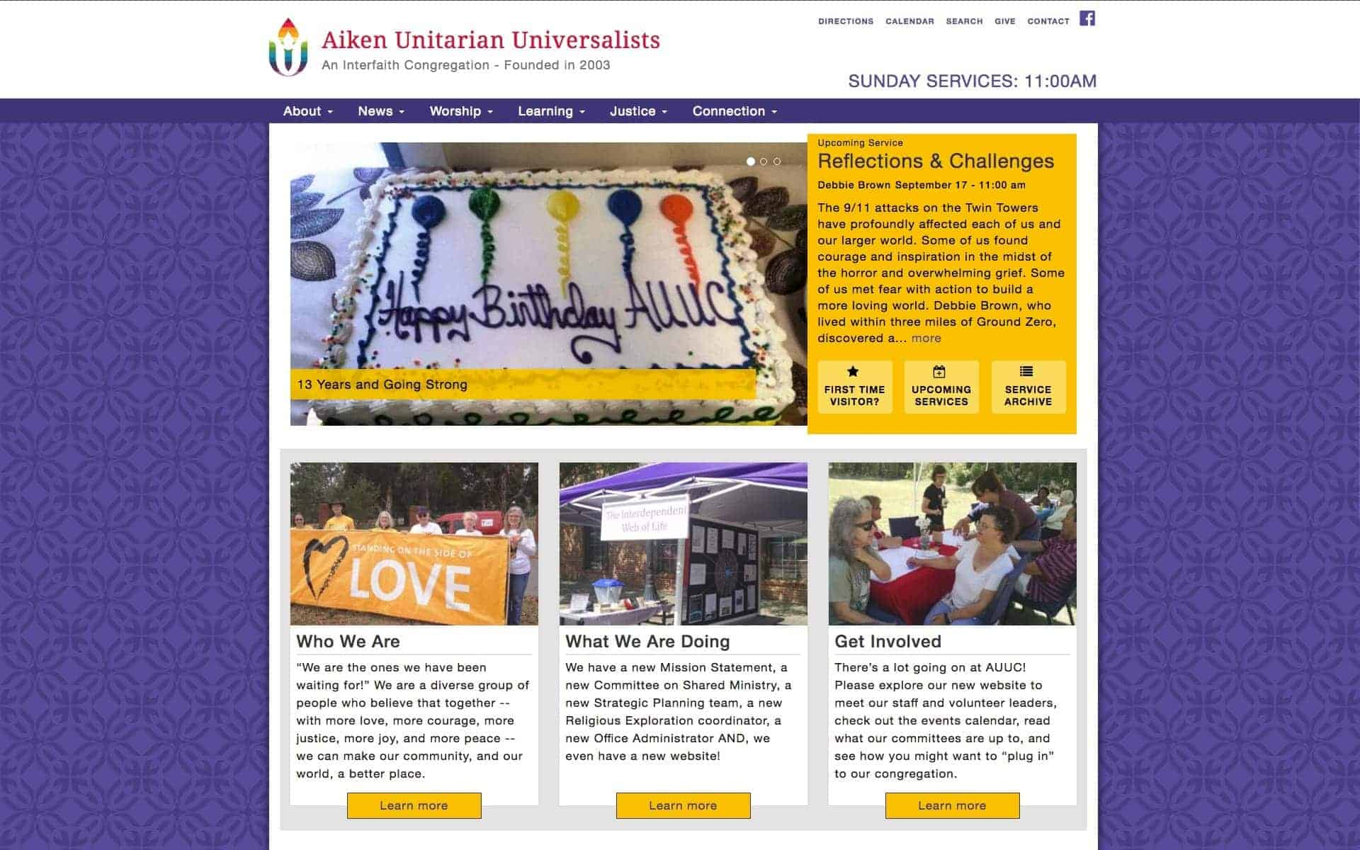screenshot of website on iMac - Aiken Unitarian Universalists