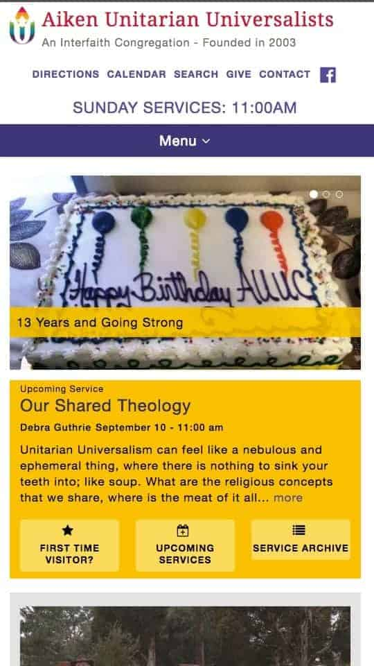 screenshot of website on iPhone - Aiken Unitarian Universalists