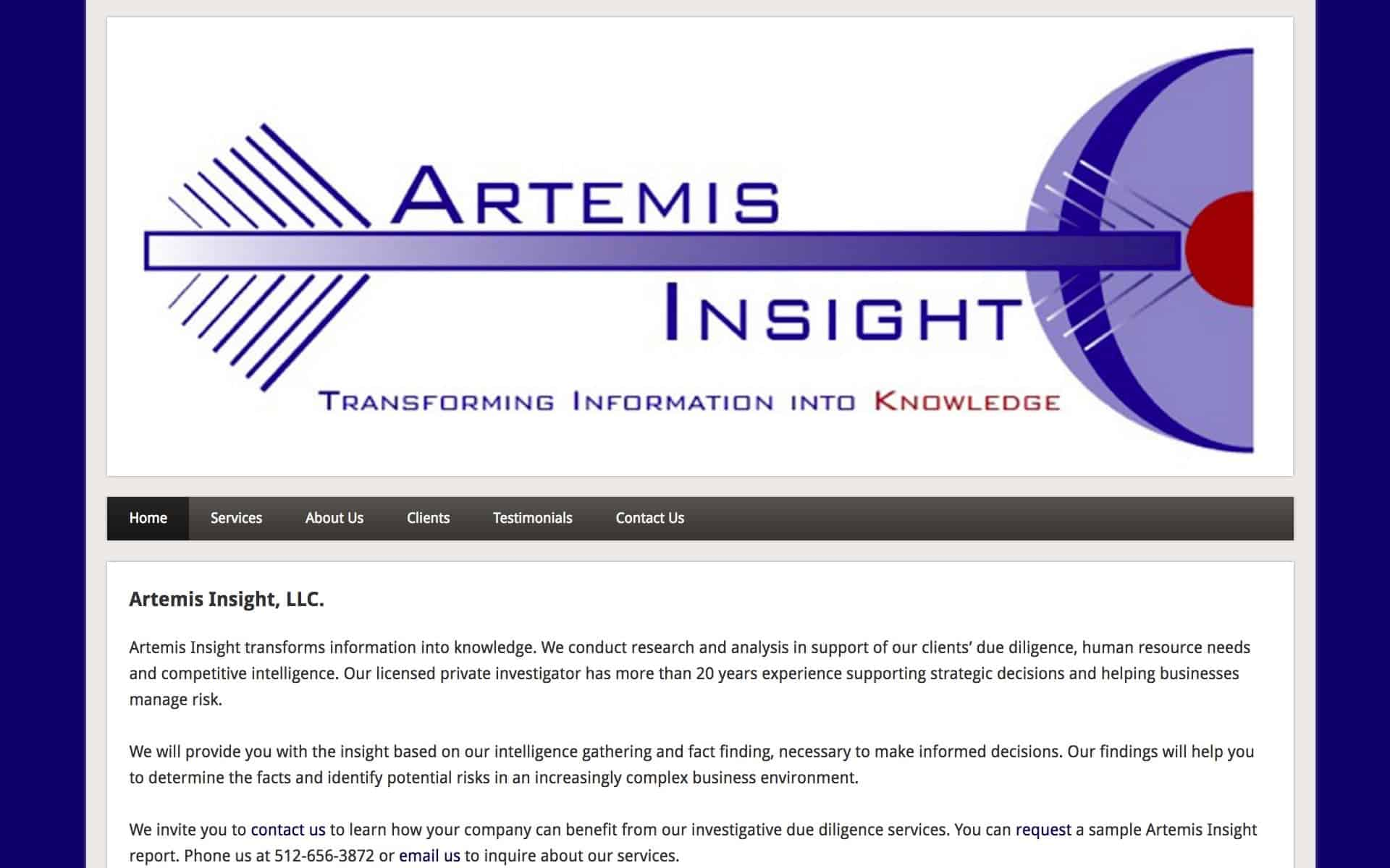 screenshot of website on iMac - Artemis Insight