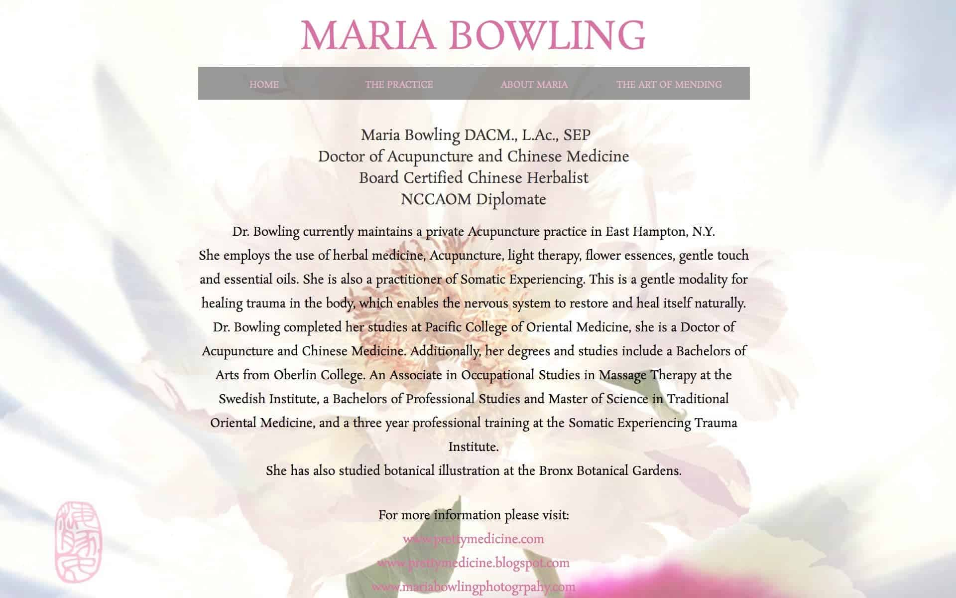 screenshot of website on iMac - Maria Bowling