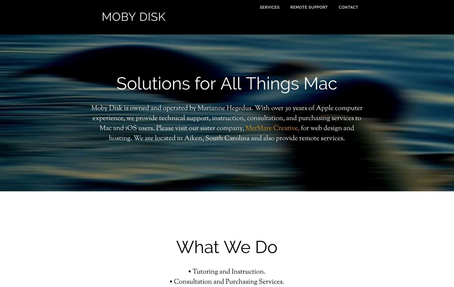 screenshot of website on iMac - Moby Disk