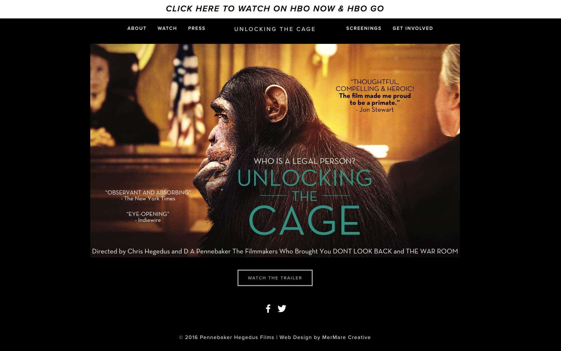 Unlocking The Cage film website on iMac