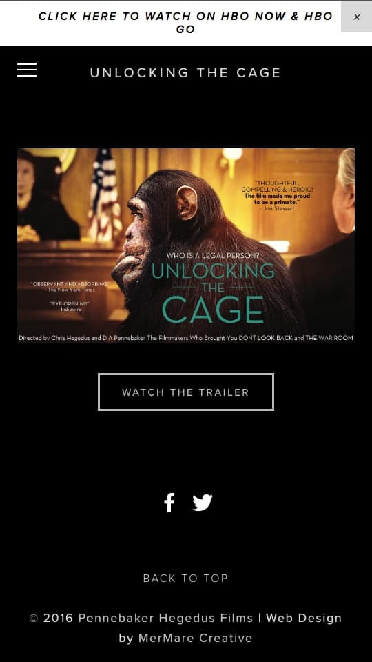 screenshot of website on iPhone - Unlocking the Cage