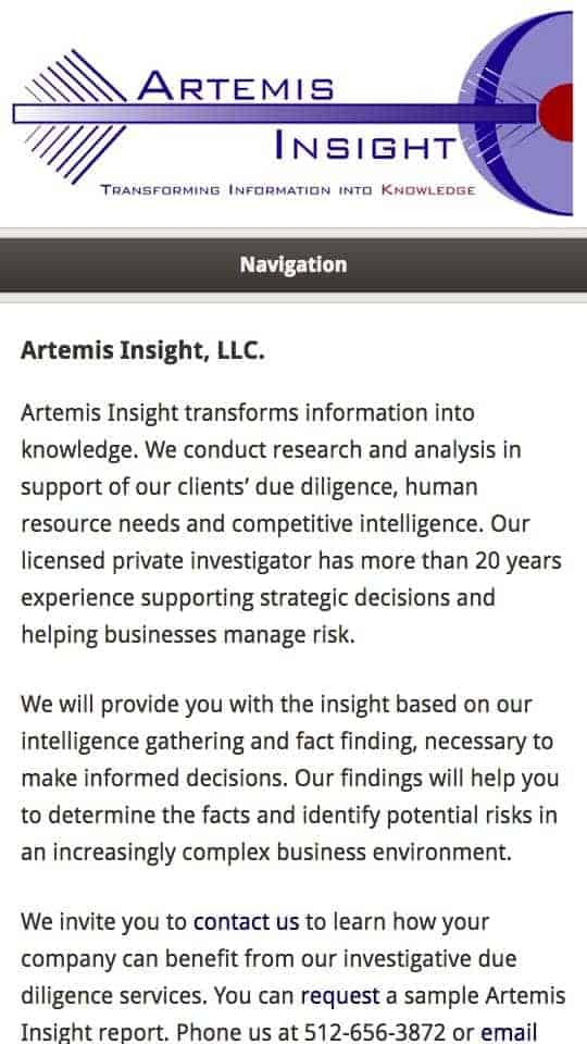 screenshot of website on iPhone - Artemis Insight